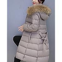 vestiti delle donne di formato di grandi dimensioni verso il basso, con cappuccio sciolto piumino di grandi dimensioni, in stile media lunghezza, grande collo vetvel, piumino, collare cappello grande, media lunghezza, allentato, incappucciati, di grandi d , gray , l