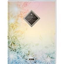 """TULPE Kariertes Notizbuch A4 """"C016 Pastell Blumen"""" (140+ Seiten, Vintage Softcover, Doppelrand, Seitenzahlen, Register - Dickes Notizheft, Matheheft, ... Schulheft, Tagebuch, Kariertes Heft Nr 26)"""