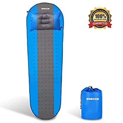 SGODDE Inflatable Sleeping Mat Camping Self Inflating Sleeping Pad with Pillow, Compact Lightweight Mattress Inflatable Roll Up Foam Bed Pads for Outdoor Backpacking Hiking 1
