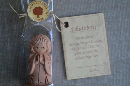 Preisvergleich Produktbild Schutzengel mit Schutzbrief, reine Handarbeit, aus Keramik