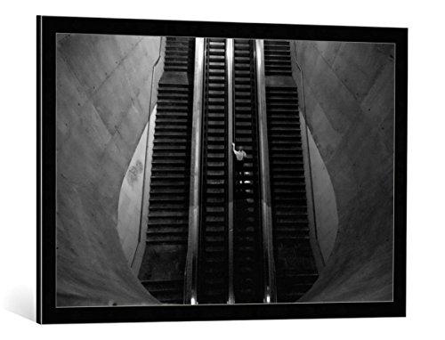 """Quadro con cornice: Fernando Alves """"Leaving the Earth entrails"""" - stampa artistica decorativa, cornice di alta qualità, 90x60 cm, nero / angolo grigio"""