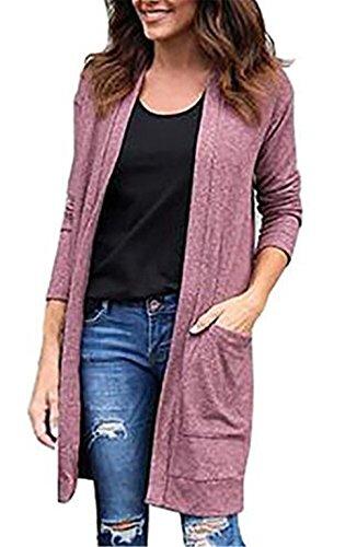 Kerlana Giacca Donna Manica Lunga Lungo Cappotto Puro Colore Jacket Moda Giacche Elegante Cappotti Con Tasche Pink