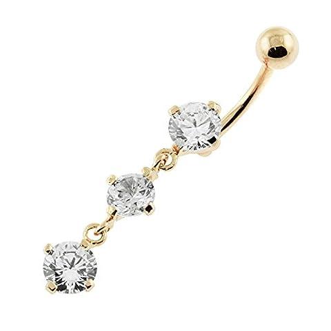 18K Gold Plated Clear Gemstone Fancy Triple Round Gems Dangling