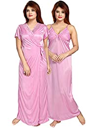 Be You Women Satin Lace Nighty with Robe - Multicolor - Free Size