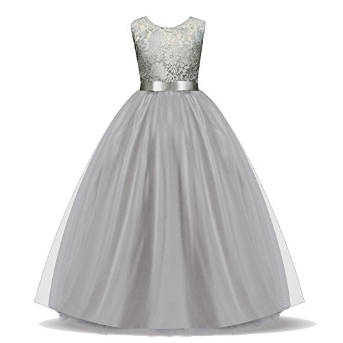 Discoball Girls Lace Flower Bridesmaid Party Princess Prom Wedding Christening Dress