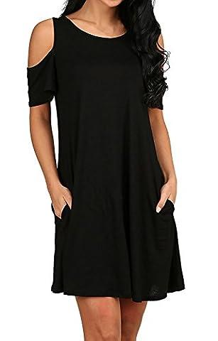 Femme Mini Robe Ete Courte Ample T Shirt Longue Tunique Manches Courte Épaules Nue Coton Chic Unie Lâche Trapèze Solide Top Blouse Noir 40-42/