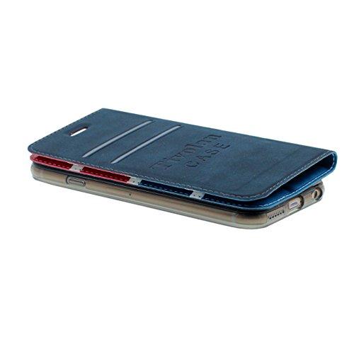Rabat iPhone 6 Coque de Protection Cuir Case, British Style Désign Carte Titulaire Anti choc Poids Léger Fille Garçon Housse de protection pour Apple iPhone 6S / 6 4.7 inch rose