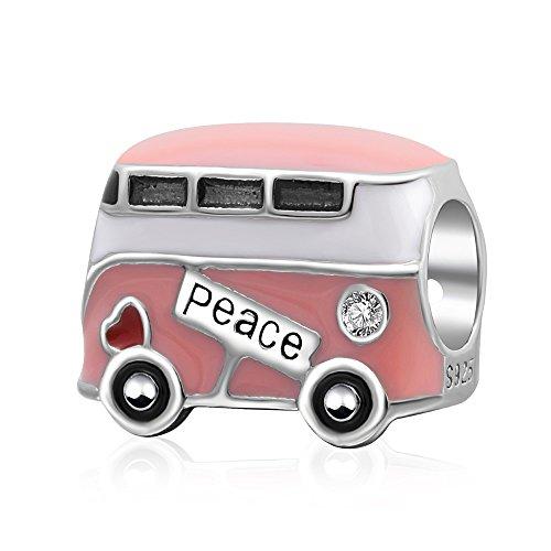 Pandora Charme Auto (soulbead Peace Bus Charme mit rosa Emaille 925Sterling Silber Bead Herz rot passend für europäische Schlange Kette Armband Schmuck)