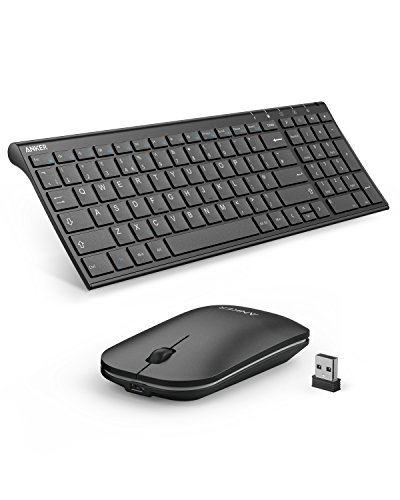 Anker 2 4GHz Wireless Keyboard and Mouse Combo for Windows Devices,  Portable Design with Built-In Lithium Battery