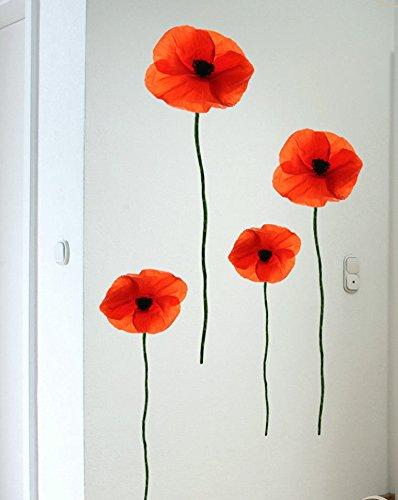 Wandtattoo Mohnblumen Raum-Deko Mohnblumen 2x ca. 142cm & 2 x ca. 94cm