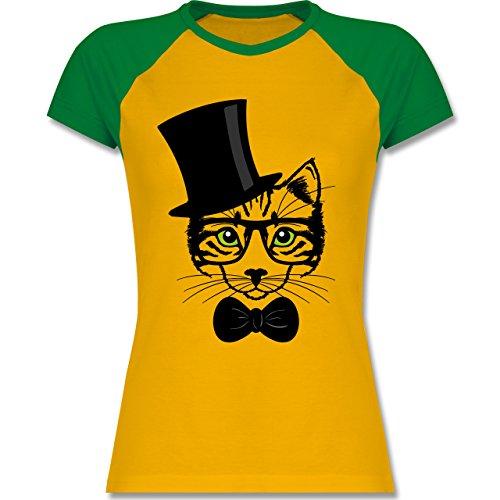 Katzen - Katze Hipster - zweifarbiges Baseballshirt / Raglan T-Shirt für Damen Gelb/Grün