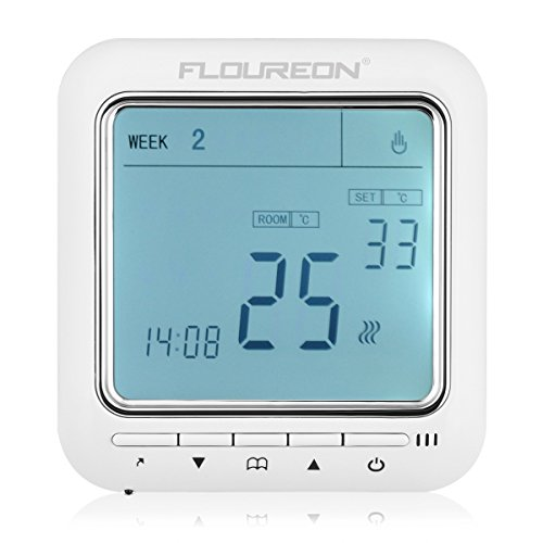 FLOUREON Heating Thermostat Programmable 5+2/6+1/7 Electric Heating Thermostat with LCD Backlight Underfloor Temperature Controller (Green)
