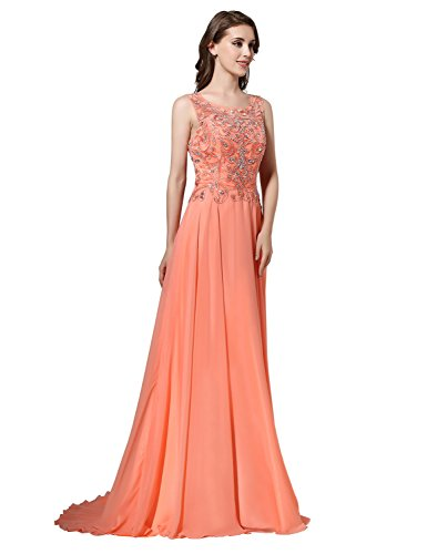 Sarahbridal Damen A-Linie Ballkleid Lang Chiffon Abendkleider Partykleider SLX156 Blau