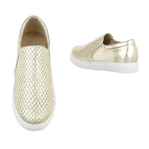 Sneakers Ital-design Basse Sneakers Da Donna Sneakers Basse Scarpe Casual Oro Wxy3226