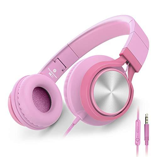 Ailihen C8 Kopfhörer leicht faltbar mit Mikrofon Lautstärkeregelung Musik Headsets 3,5mm für Smartphones PC Laptop Mac MP3 Tablet (Pink) - Pc Laptop Mp3