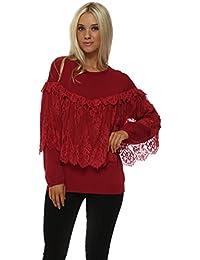 Laetitia Mem Red Romantic Lace Fine Knit Jumper 6825429a3