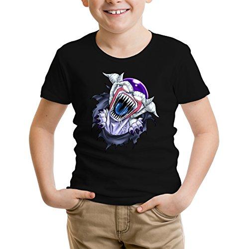 Okiwoki T-Shirt Enfant Noir Dragon Ball Z - Alien parodique Freezer : La Naissance d'un Alien. (Parodie Dragon Ball Z - Alien)