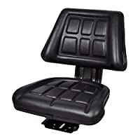 Tractor Seat with Sliding Track, Waterproof Forklift Seat with Backrest, Adjustable Length Tractor Chair