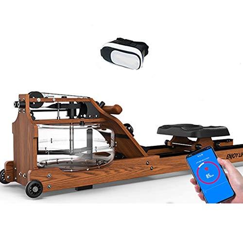 YYD Wasserrudersport Rudergerät kommerzielle Fitnessgeräte Wind Widerstand Flüssigkeit Widerstand Wasser-Blockiermaschine (Mit VR-Brille),Walnut