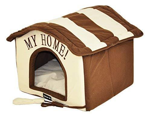 nanook Hunde-Haus Hunde-Höhle TABOU inkl. Kissen, kleine Hunde und Katzen, Größe L, braun weiß, Indoor