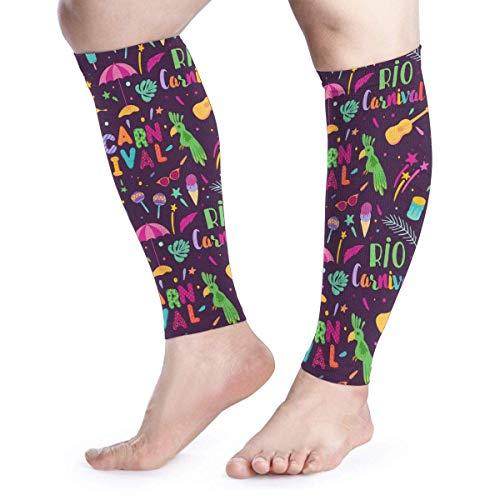 Brazilian Carnival Pattern Samba Unisex Calf Compression Sleeve - Leg Compression Socks for Running, Shin Splint, Calf Pain Relief