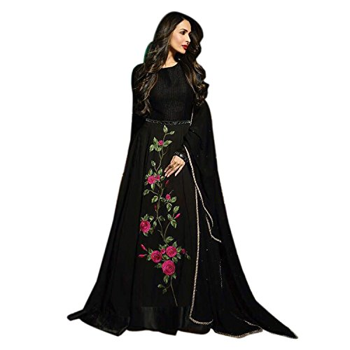 GLAMIFY Black Georgette Anarkali Semi-Stitched Suit