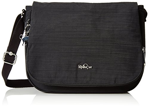 Kipling Earthbeat M, Borsa a Tracolla Donna, Nero (Dazz Black), One Size