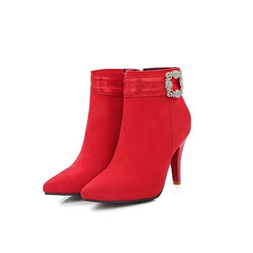 VogueZone009 Donna Luccichio Tacco Alto Scarpe A Punta Cerniera Stivali Rosso