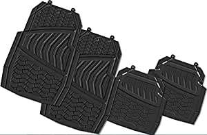 Suzec 131170 Car Foot/Floor Rubber Universal Mat with Multiple Edged Sections (Set of 5, Black)