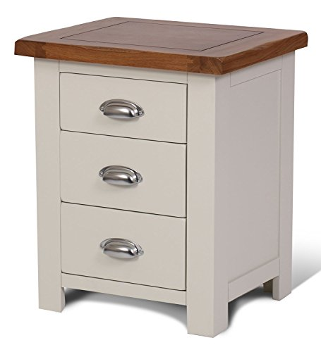 Ascot Oak 3 Drawer Bedside Table Oak and Stone White ...