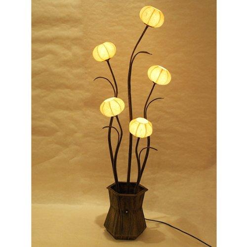 - Kugelschreiber aus Papier von Reis oder Maulbeerseide mit Lampenschirm gelb rund Handarbeit mit Motiv vase von Blumen oder Laterne braun Tischlampe Stehlampe Licht nach oben in östlichen Stil für Schlafzimmer