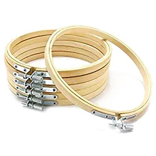 XZANTE Stickerei Kreis Set Reifen Kreuz Stickrahmen Ring aus Holz Runde einstellbare Bambus Reifen Fuer Kunst Handwerk handlich Naehen Kit (6 Stueck 6inch) - Set Holz Kreuz