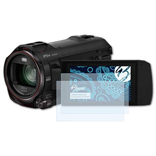 Bruni Schutzfolie kompatibel mit Panasonic HC-VX878 Folie, glasklare Displayschutzfolie (2X)