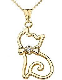 Diamant Katze Tier Anhänger Halskette in 10 Karat Gelb Gold (Kommt mit  Einer 45 cm 1a62231811