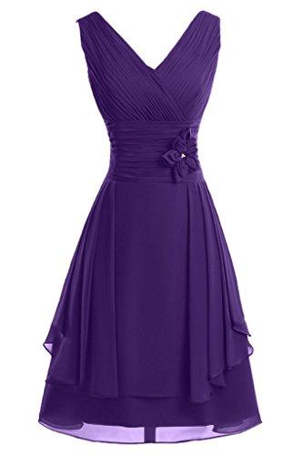 ivyd ressing Femme col V avec fleurs ligne A court Demoiselle d'Honneur Prom robe robe du soir Violet