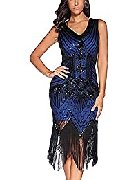 5f1de5f18d5 LIRENSHIGE Flapper Dress, 1920s Flapper Dress V Neck Beaded Fringed Gatsby  Theme Flapper Dresses for
