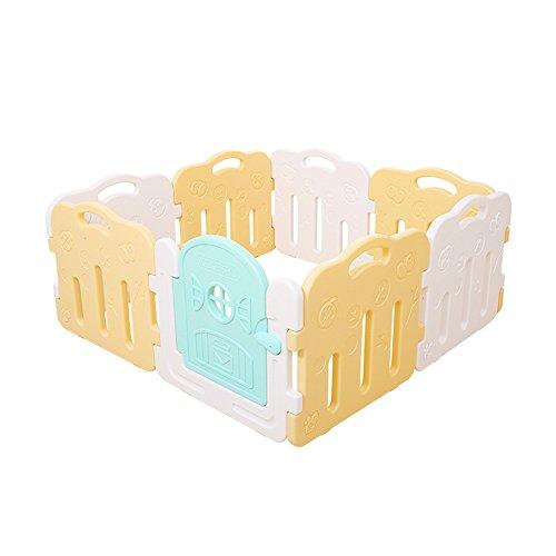 8 Panneaux D'activités Plastic Baby Playpen Clôture De Jeu Interactif Divider Jouets Éducatifs Facile à Transporter (Couleur : White+Yellow)
