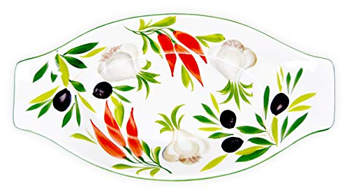 Flach-oval-design (Lashuma Antipastiplatte oval, Flache Keramikschale handgemache italienische Keramik, Design: Antipasti Größe: 38 x 19 cm)
