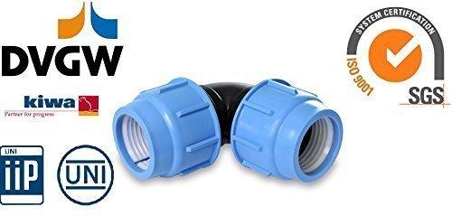 PP Bogen 16 ,20 ,25 mm PE-Rohr 16 bar Verbinder Verschraubung Winkel Bewässerung DVGW geprüft (25 mm x 25 mm )