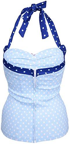 Küstenluder DELCIE Polka Dots PUNKTE Pin Up Cherry Retro TOP Rockabilly Helles Pastellblau mit weißen Dots