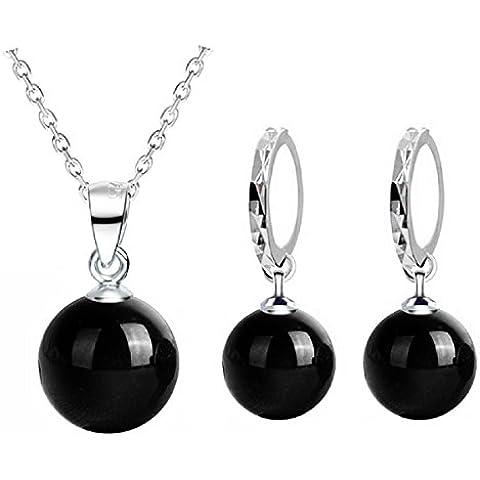 In argento Sterling 925, con agata nera e accessori di gioielli Orecchini di cristallo naturale Collana Fine Jewelry - Collana Agata Nera Di Cristallo