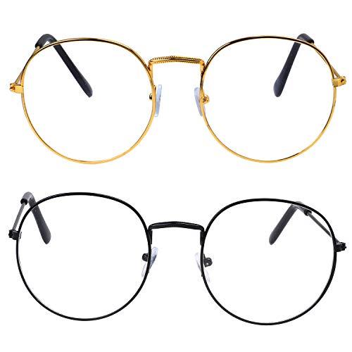 Schwarzes Brille Quadrat Kostüm - Beelittle Classic Retro Square Übergroße Klare Linse Brillen Gold Metallrahmen für Männer Frauen (Gold + Schwarz)