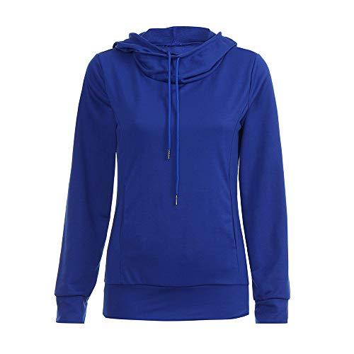 (SUCES Einfarbig Rollkragen Hoodie Top Damen Mode Lange Ärmel Pullover Zur Seite Fahren Mit Kapuze Tasche Sweatshirt Jumper Pullover Winter Casual Kapuzenpullover Bluse(Blau,XL))