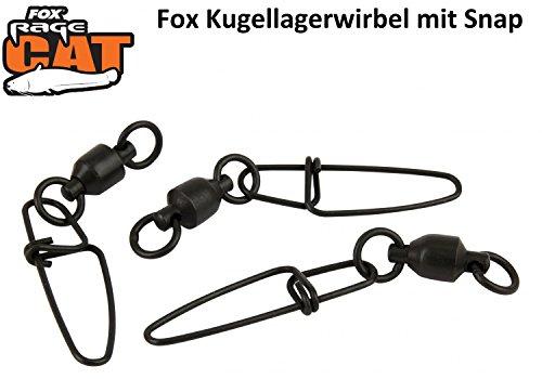 Fox Rage Cat Ball Bearing Snap Link Swivels, Wirbel mit Snap, Kugellagerwirbel, Wirbel mit Kugellager, Welswirbel, Wallerangeln, Welsangeln, 3 Stück, Größe:7