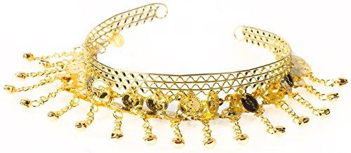 Bauchtanz Schmuck Haarschmuck Haarnadel Haarklammer Zubehör ZIGEUNERIN Karneval Fasching Zigeuner Roma Kostüm mit Münzen Silber / Gold (Gold)
