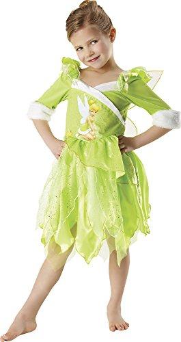 Rubie's 881869-L, Costume invernale Tinkerbell per ragazze, verde, L