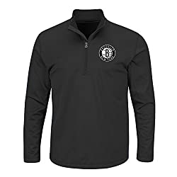 NBA Brooklyn Nets Men's B&T Team 1/4 Zip Birdseye Poly Shirt, 2X, Black