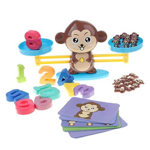B Blesiya Juguete Educativo Niños Balanza de Equilibrio Números Tarjetas de Monos de Resto y Sumación Juego para Aprendizaje de Aritméticos