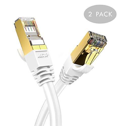 Veetop Cat8 Lankabel, 40Gbps Netzwerkkabel superschnell flexibel und robust mit vergoldetem RJ45 (2m weiß x 2 Stück) Twisted-pair Video-Übertragung