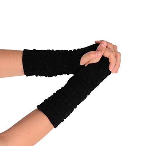 TWIFER Mode Damen Gestrickt Arm fingerlose Winter Weichen Warmen Handschuhen Armstulpen (20cm, Schwarz)